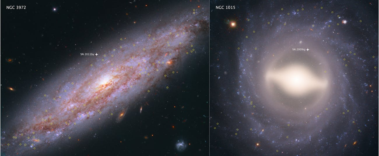 NGC 3972 (left) and NGC 1015 (right), are 65 million and 118 million light-years from Earth, respectively. Both possessed pulsating stars called Cepheid variables that let researchers determine the distance to the galaxies.