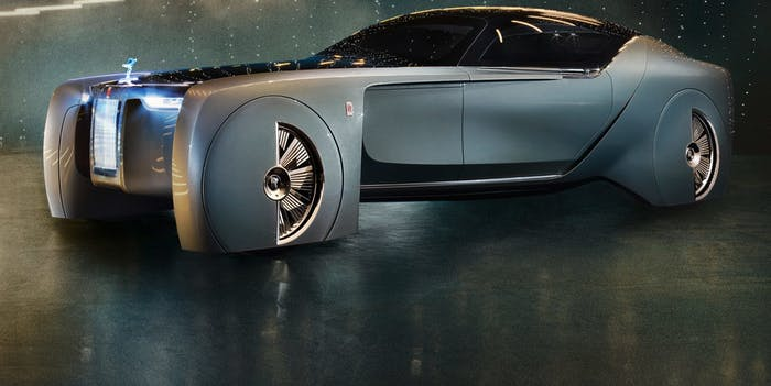The Rolls-Royce Vision Next 100, also known as the 103EX, is a luxury vehicle that comes with an artificial intelligence called Eleanor.