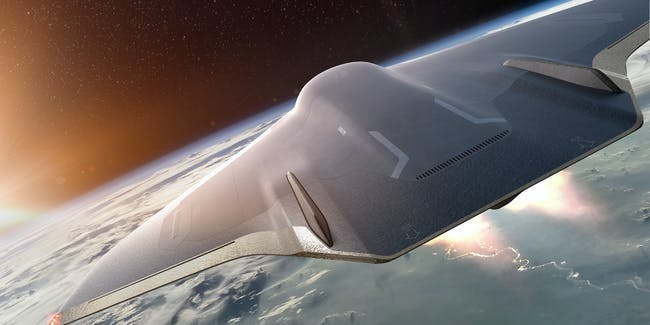 Paradoxal, a concept plane from Imaginactive, flies at the edge of Earth's orbit.