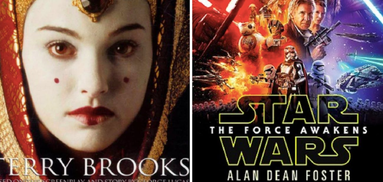 Two 'Star Wars' novelizations from 1999 and 2015.