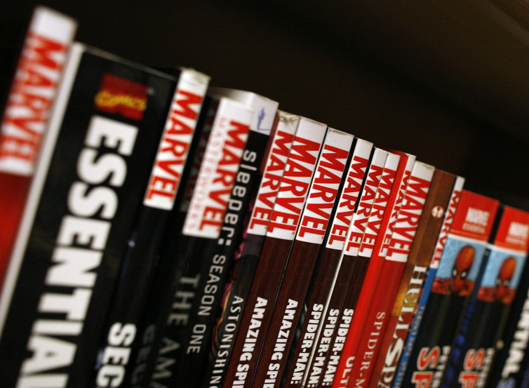 Marvel graphic novels sit on the shelf of a bookstore in New York.