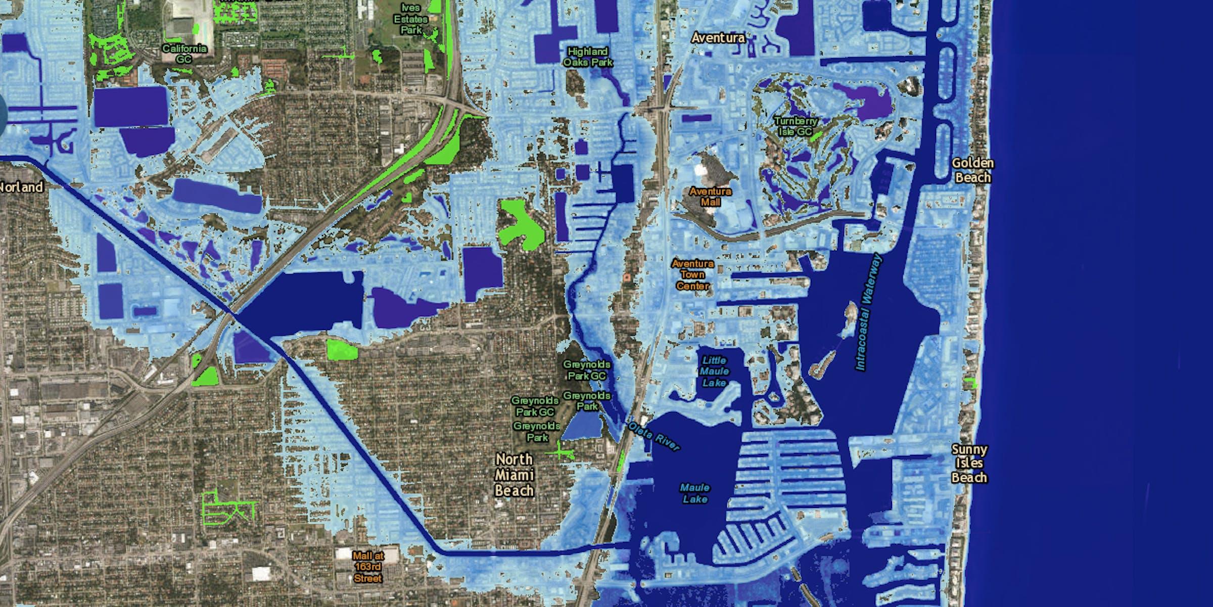 sea level rise projection map miami florida