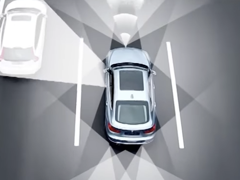 The car uses light and road sensors to detect nearby obstacles and traffic.