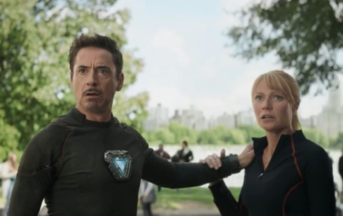 Tony Stark (Robert Downey Jr.) and Pepper Potts (Gyneth Paltrow) in 'Avengers: Infinity War'.