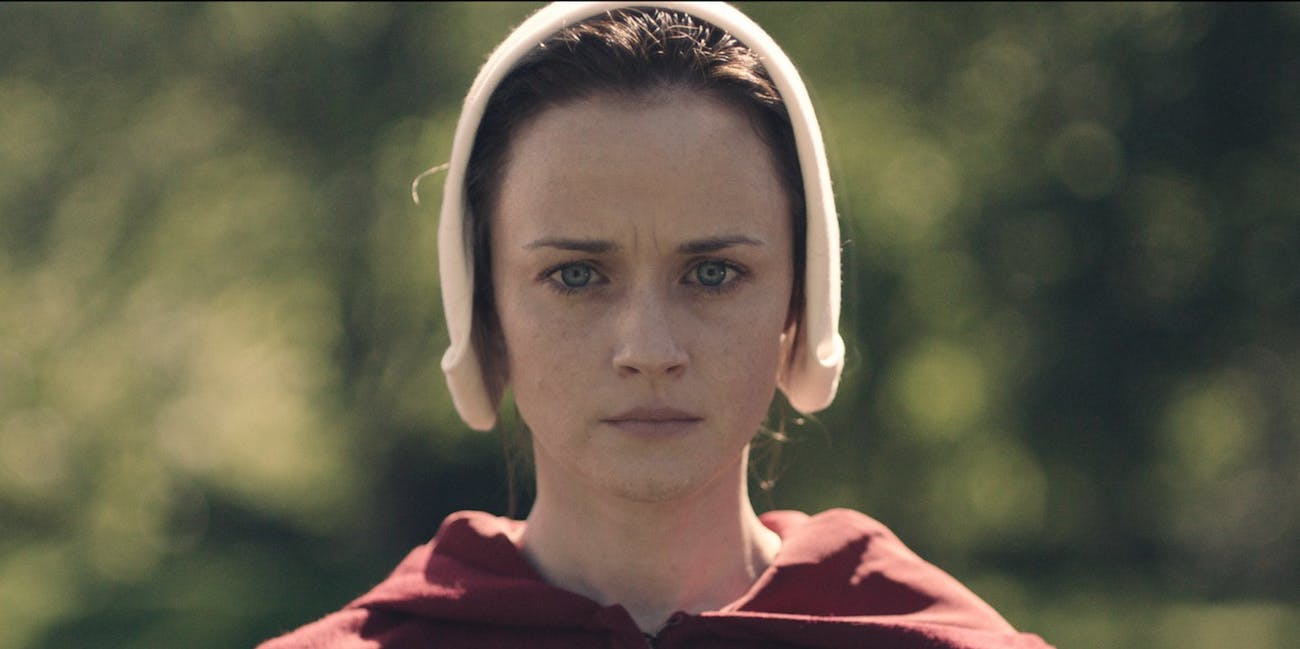 "Alexis Bledel is ""Ofglen"" in the Hulu show ""The Handmaid's Tale"""