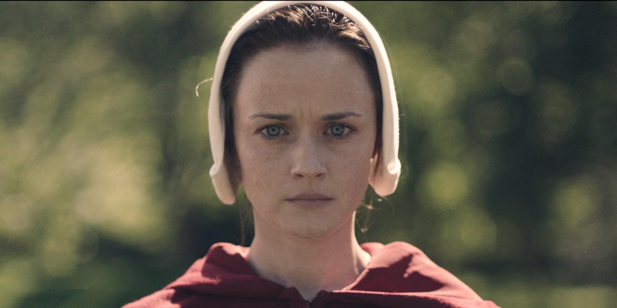 "Alexis Bledel is ""Ofglen"" in the Hulu show ""The Handmaid's Tale"""
