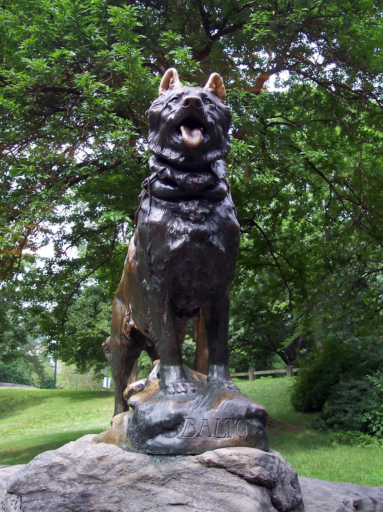 The Balto statue in Central Park in New York City.