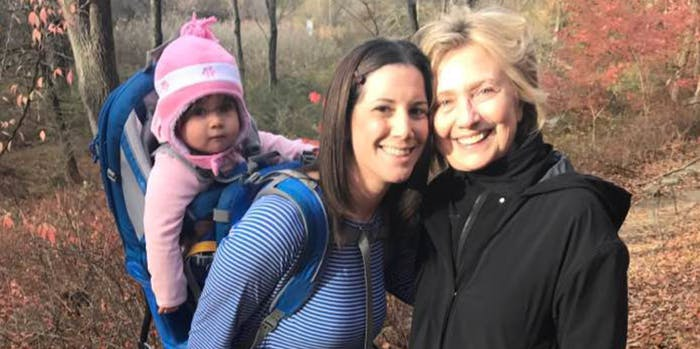 A woman and her child ran into Hillary Clinton a hike.