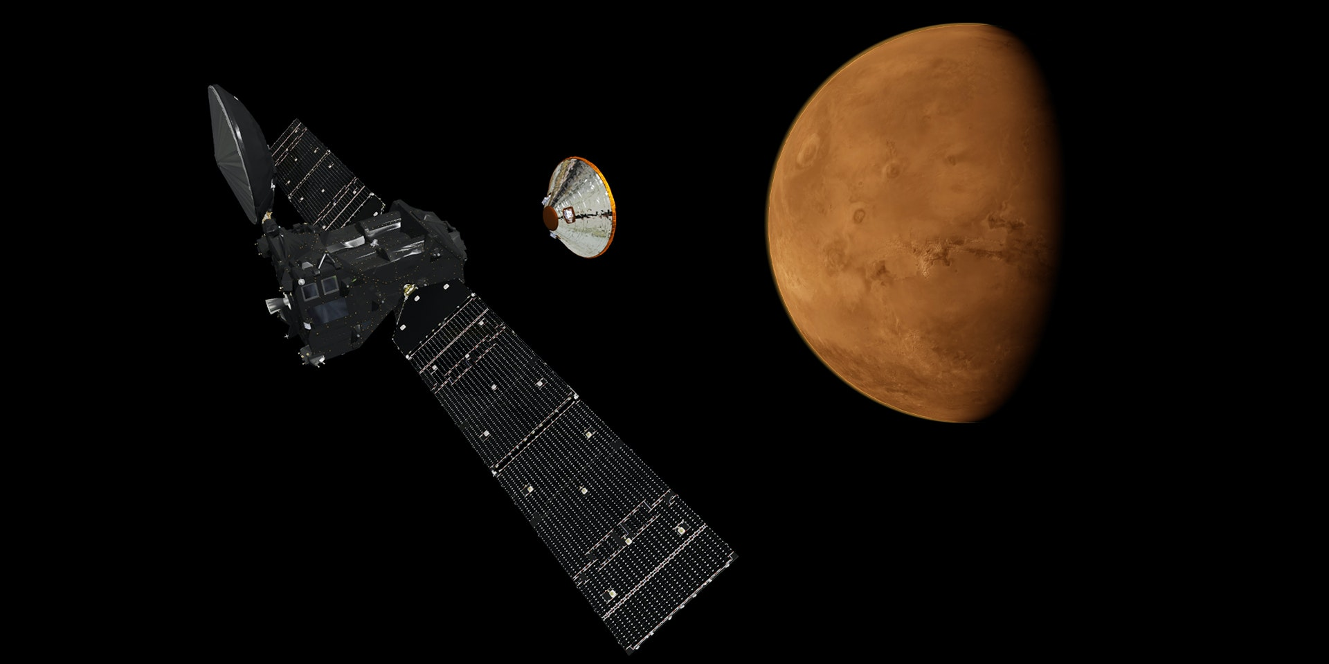 Schiaparelli successfully separated from the TGO on October 16. No word yet on if it survived the landing.