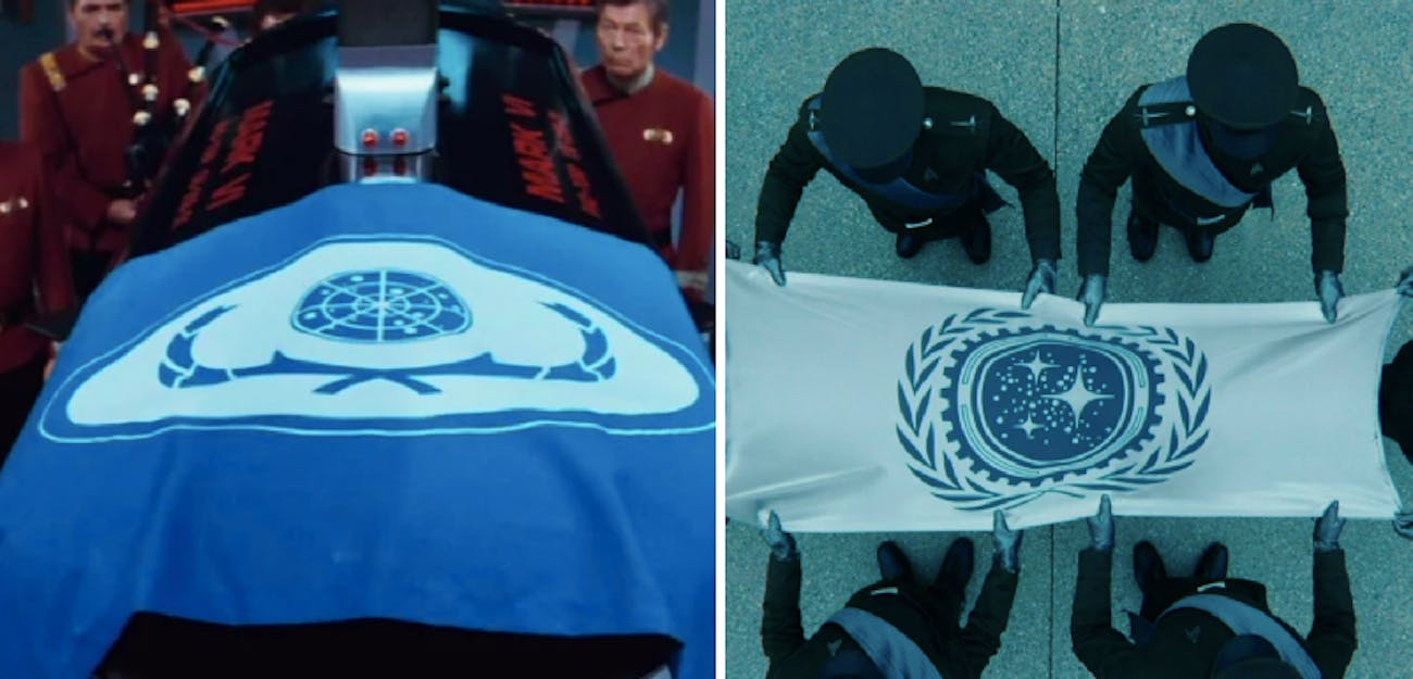 LEFT: Spock's casket with a Federation flag in 'The Wrath of Khan' (1982) RIGHT: Starfleet officers with a Federation flag in 'Star Trek Into Darkness'(2013)