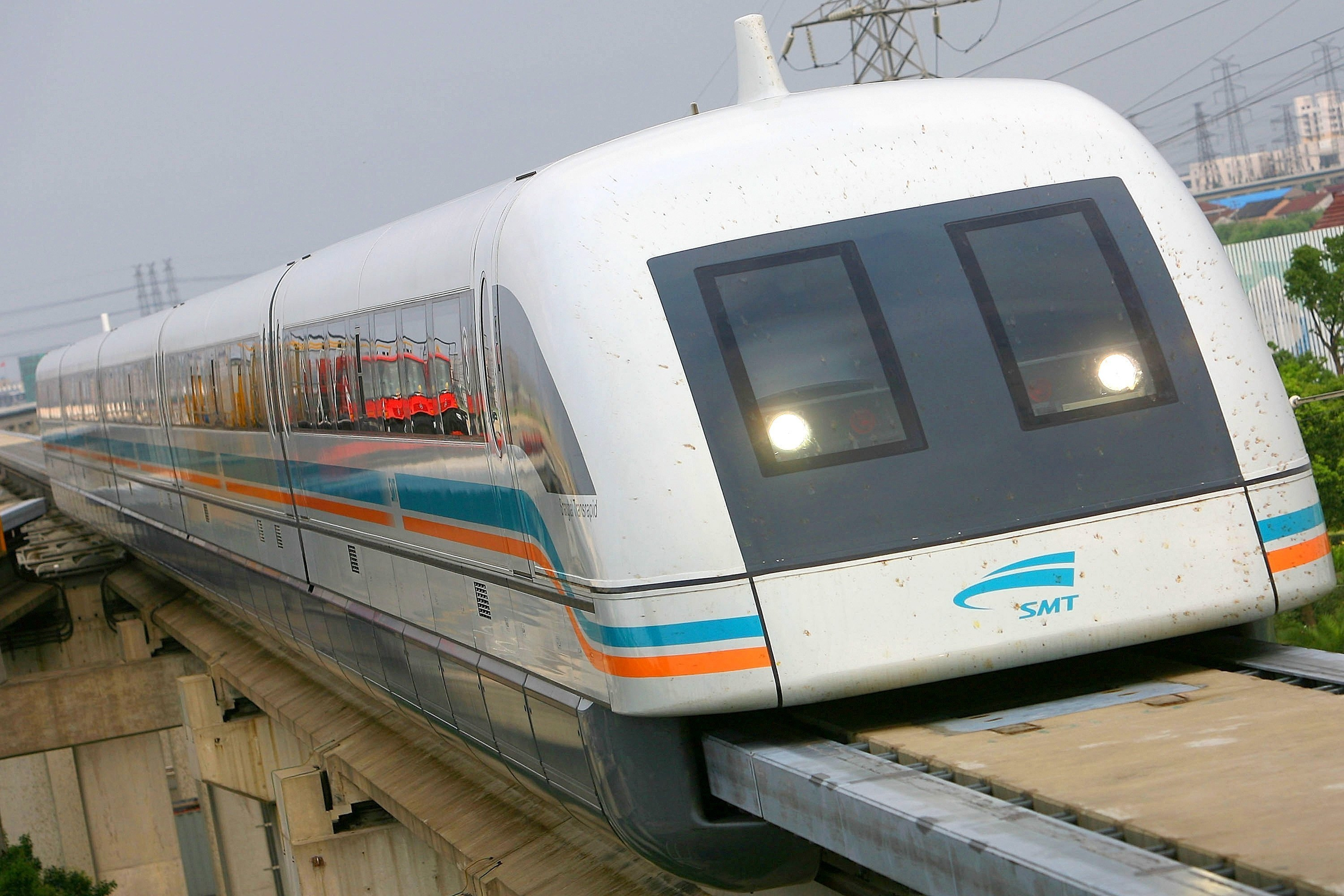 The Shanghai maglev, which runs from the airport to the city center, covers 19 miles in eight minutes.