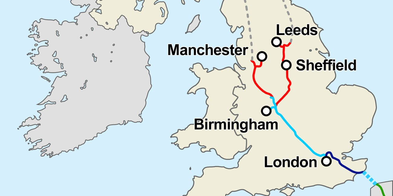 This Map Shows the U.K.\'s Controversial HS2 High Speed Rail Plan ...