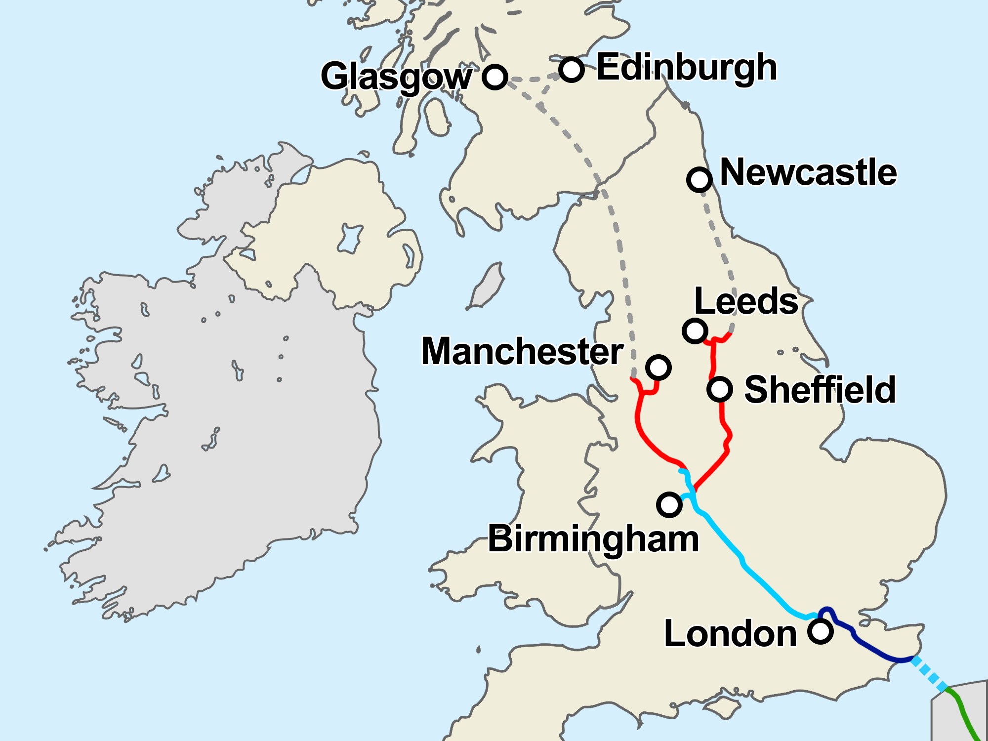 This Map Shows the U.K.'s Controversial High Speed Rail Plan
